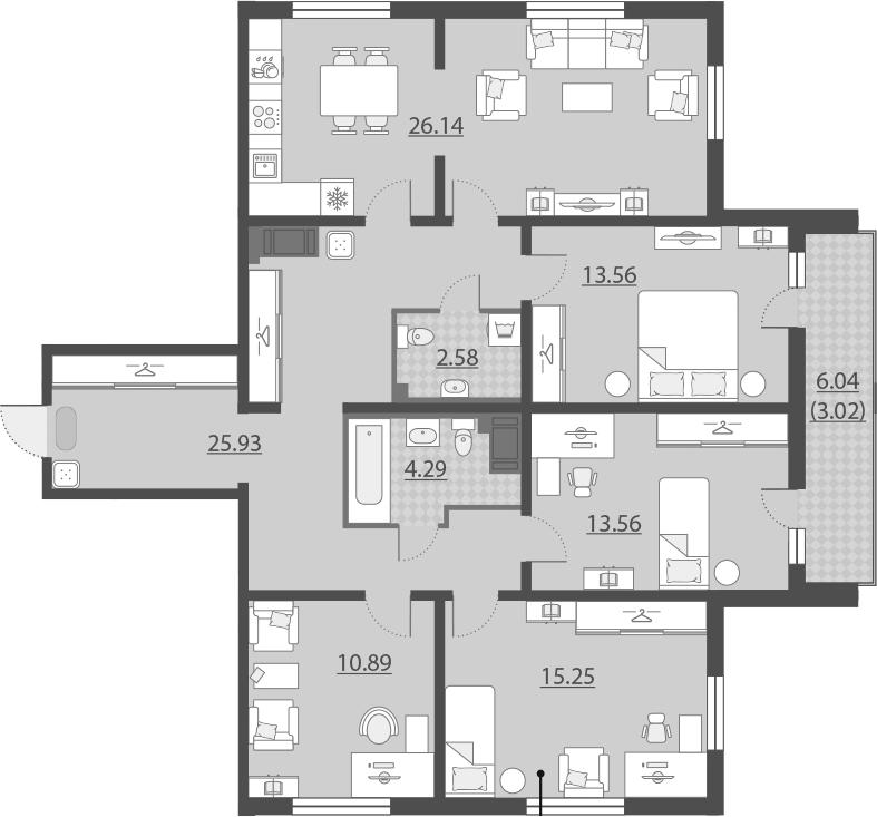 5Е-комнатная, 115.22 м²– 2