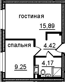 2-к.кв (евро), 33.73 м²