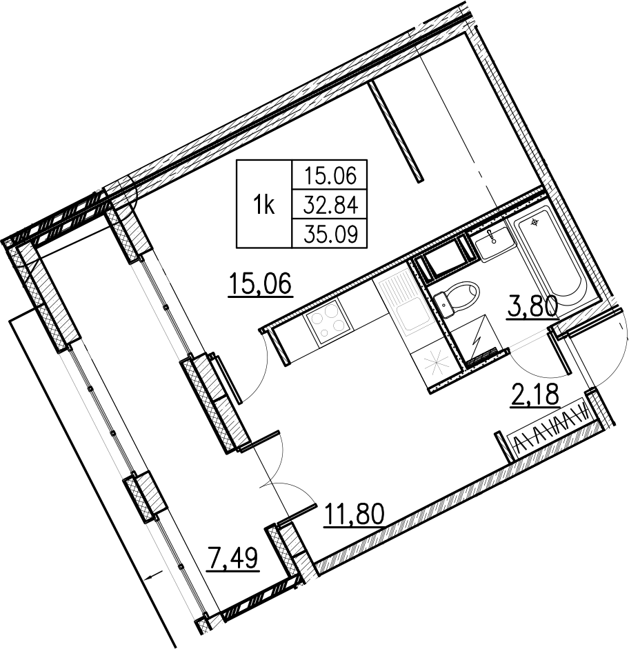 1-комнатная, 35.09 м²– 2