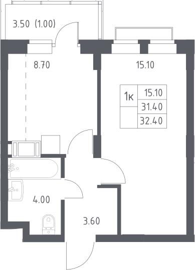 1-к.кв, 31.4 м², 9 этаж