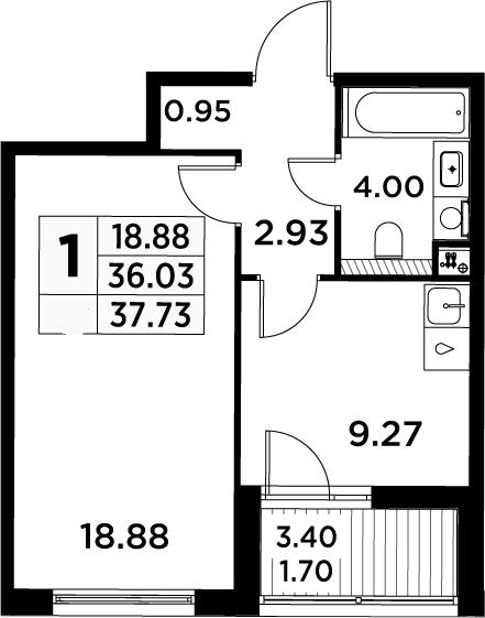 1-комнатная, 37.73 м²– 2