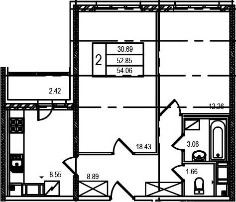 2-к.кв, 55.22 м²