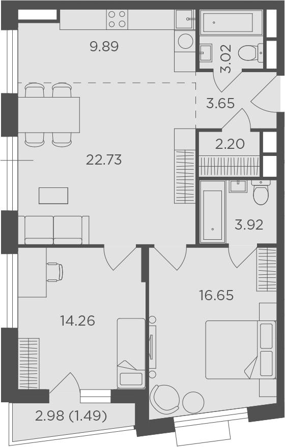 3Е-комнатная, 77.81 м²– 2