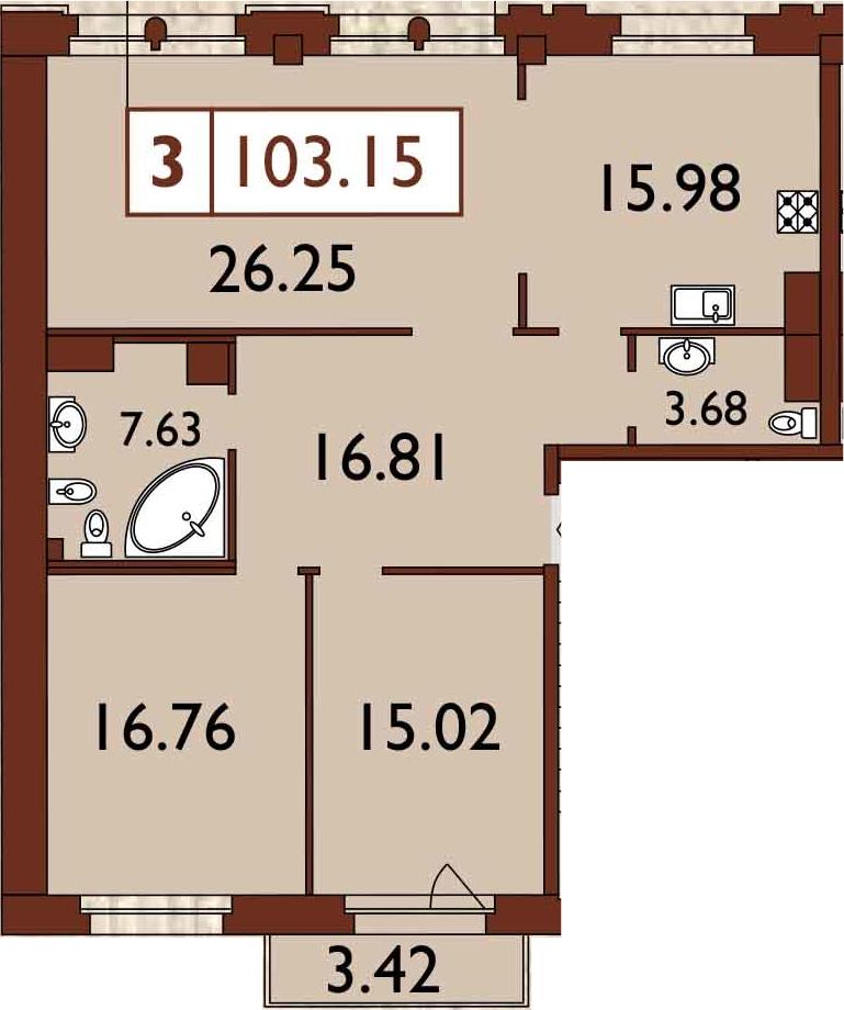 3-к.кв, 105.53 м²