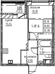 2-к.кв (евро), 33.91 м²