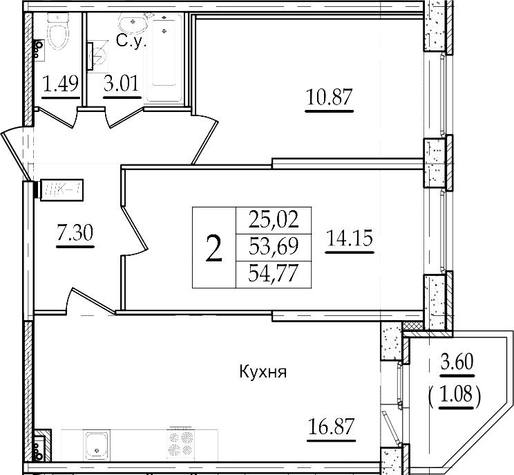 3Е-к.кв, 54.77 м²