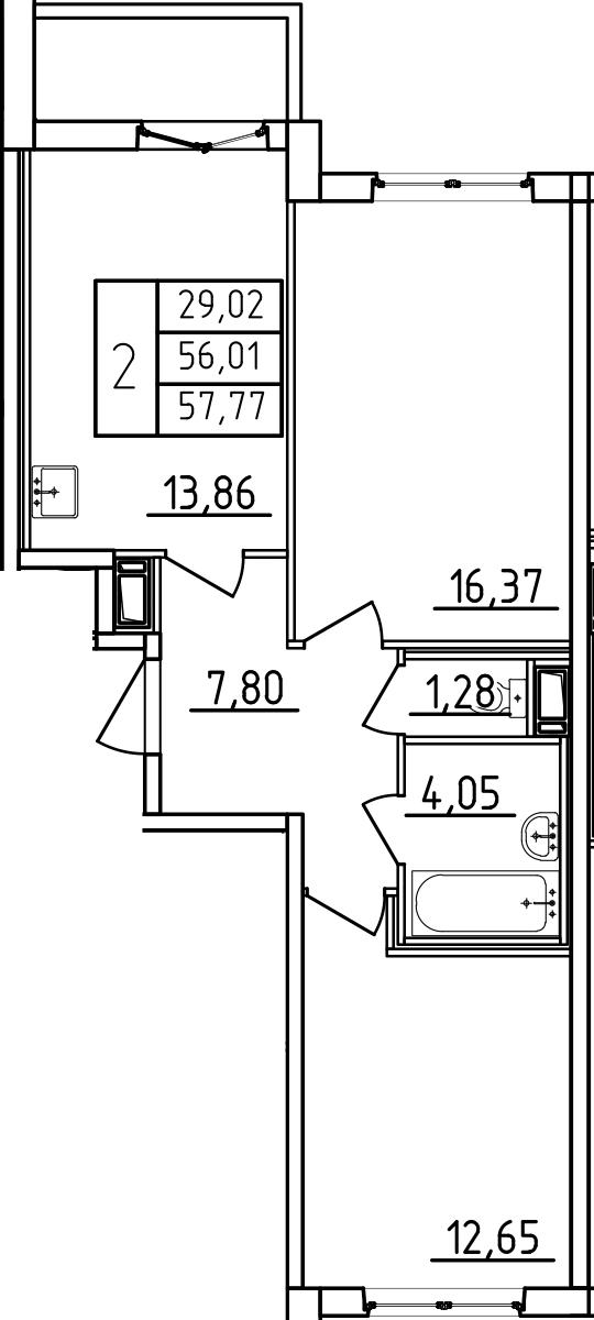 2-к.кв, 59.53 м²
