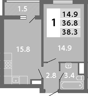 2Е-комнатная, 38.3 м²– 2