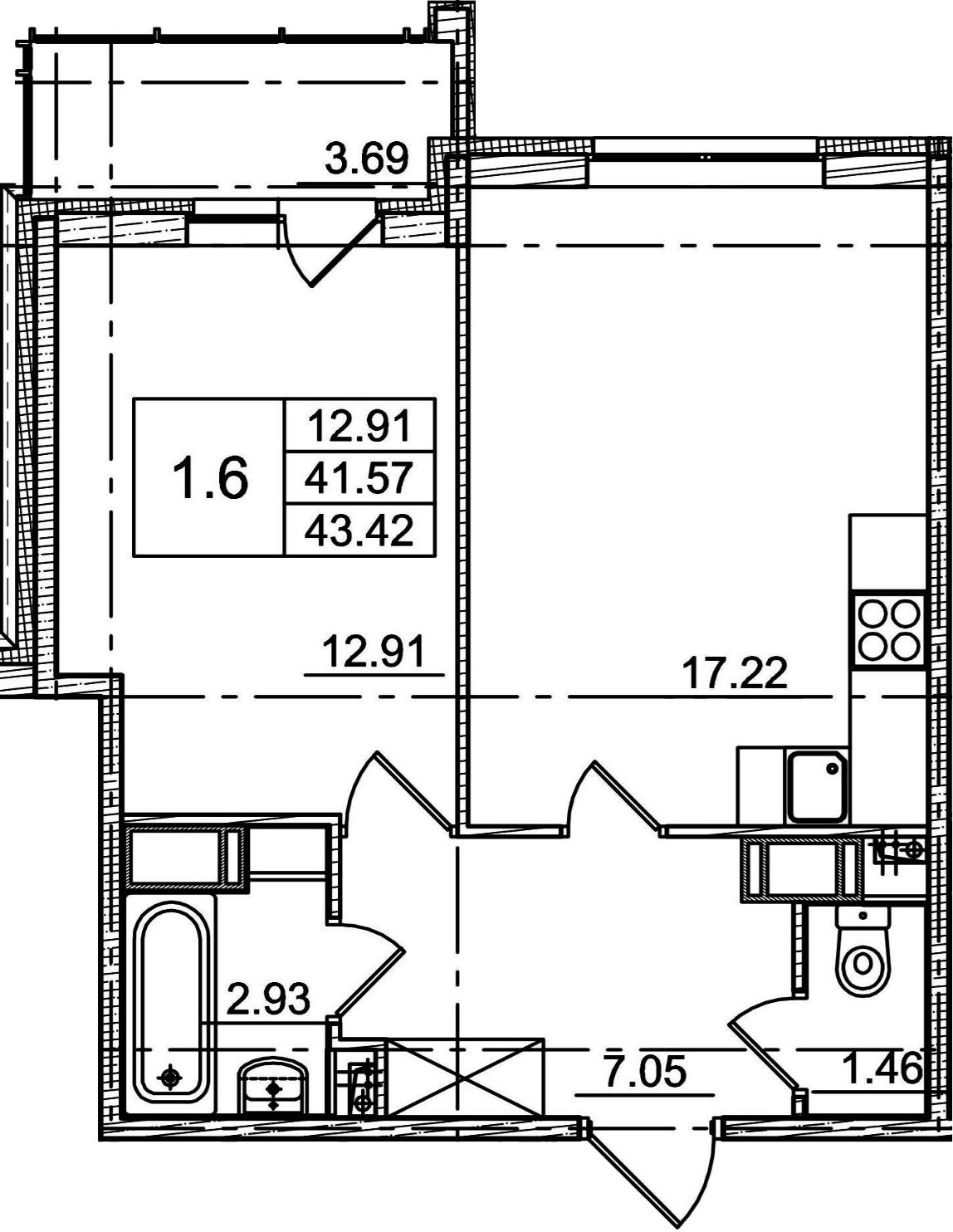 2Е-к.кв, 41.57 м², 2 этаж
