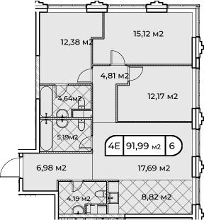 4Е-комнатная, 91.99 м²– 2