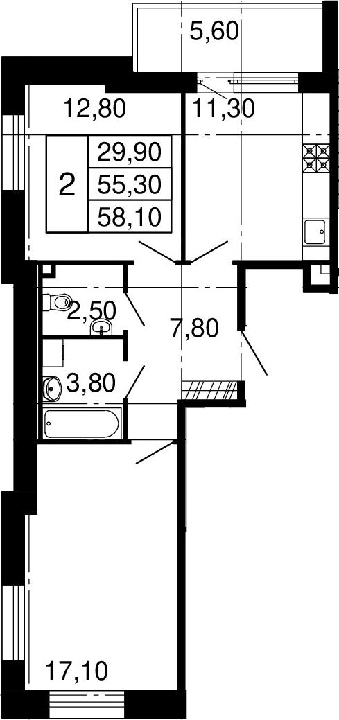 2-к.кв, 55.3 м², 2 этаж