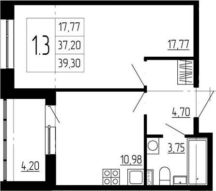 1-к.кв, 35.21 м²