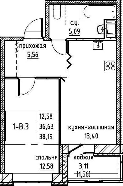 2-к.кв (евро), 39.75 м²