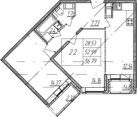 2-к.кв, 52.99 м²
