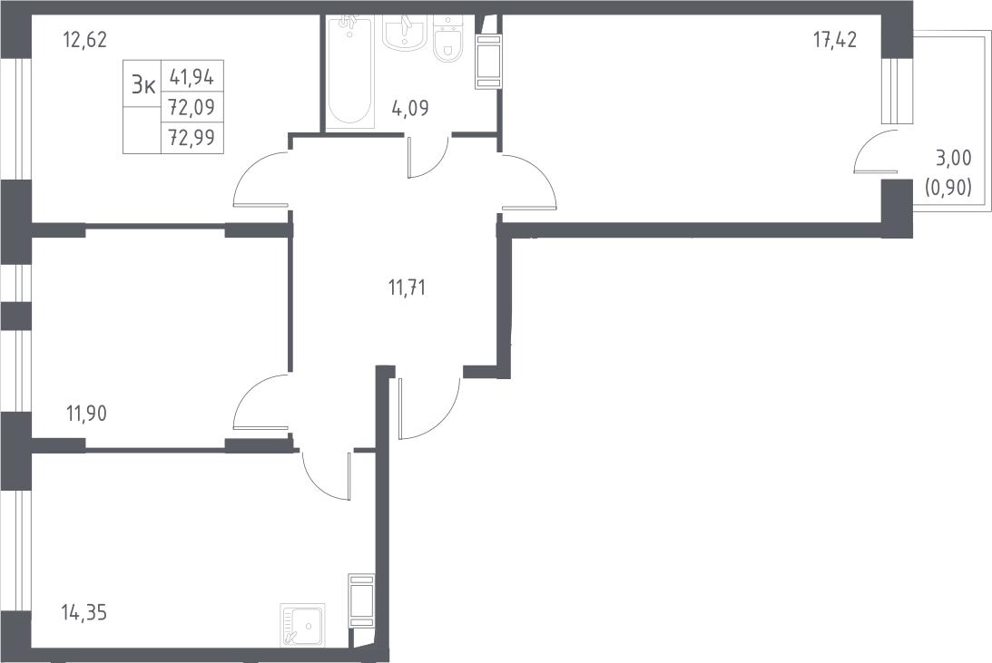 3-к.кв, 72.99 м²