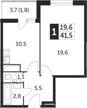 1-к.кв, 41.5 м², 6 этаж