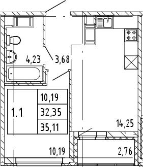 2Е-комнатная, 35.11 м²– 2