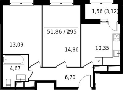 2-к.кв, 53.42 м²