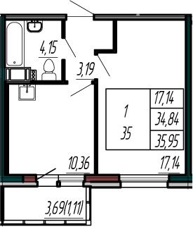1-к.кв, 38.53 м²