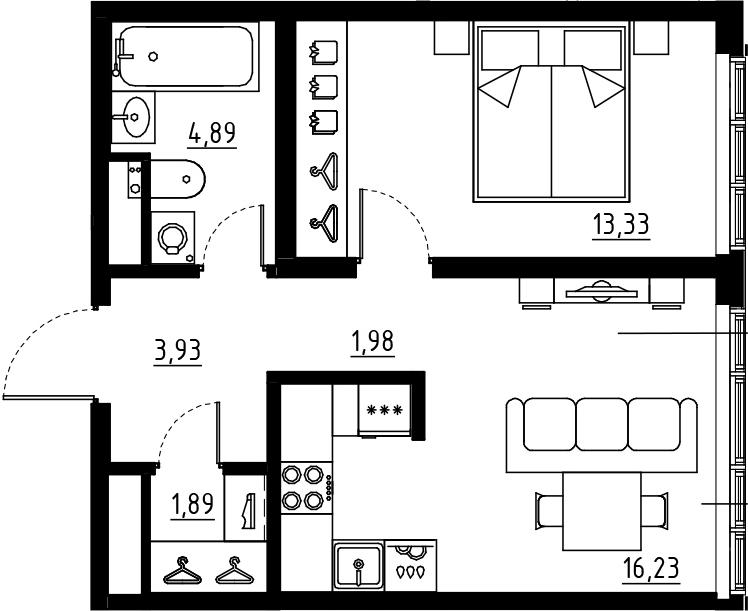 2Е-к.кв, 42.25 м², от 2 этажа