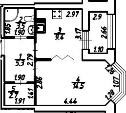 1-к.кв, 36.85 м², 2 этаж