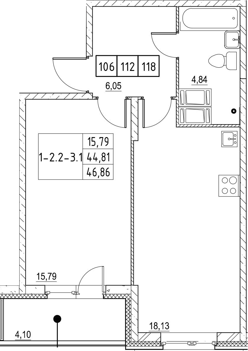2Е-к.кв, 46.86 м²