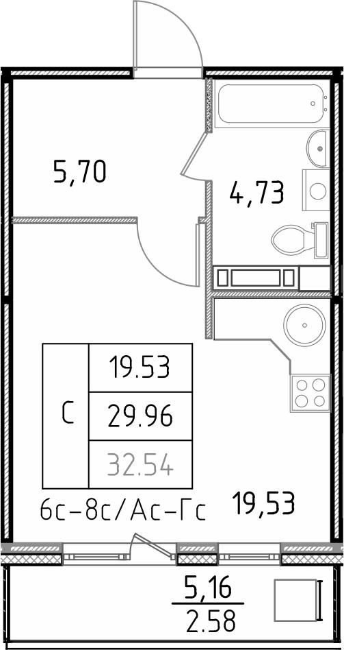 Студия, 35.12 м²