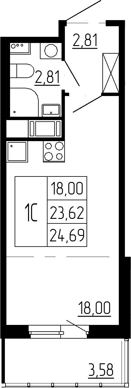 Студия, 23.62 м²– 2