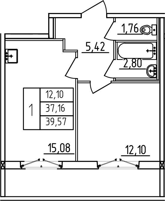 2-к.кв (евро), 45.19 м²