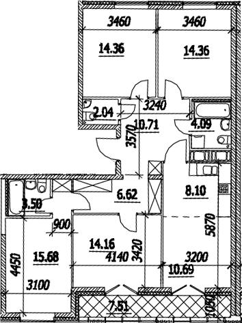 5Е-к.кв, 108.07 м², 14 этаж