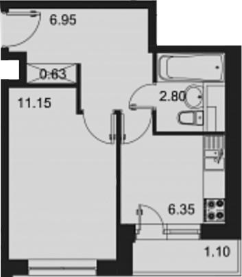 1-комнатная, 28.88 м²– 2