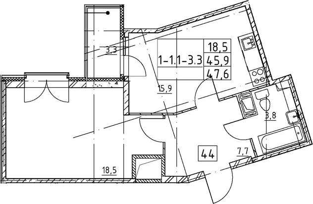 2Е-к.кв, 47.6 м², 7 этаж