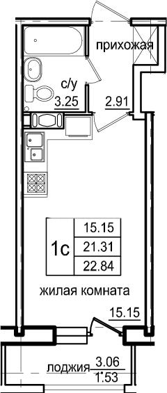Студия, 22.84 м², от 7 этажа