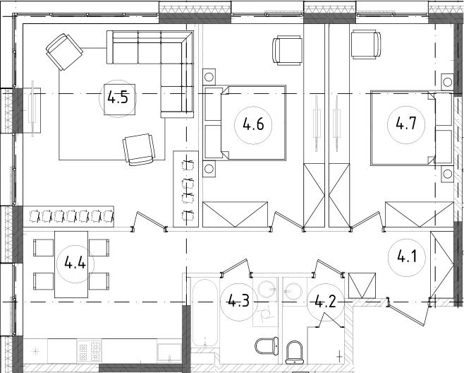 3-к.кв, 76.98 м²