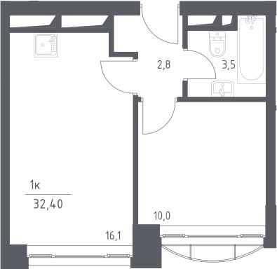 2Е-комнатная, 32.4 м²– 2