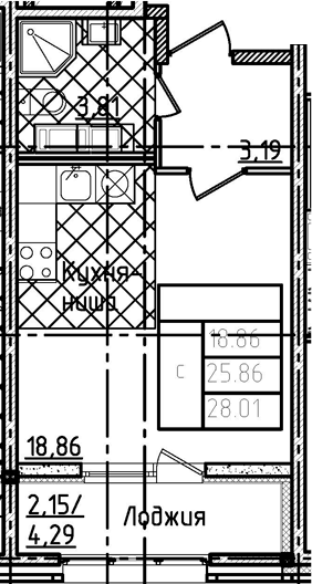 Студия, 28.01 м²