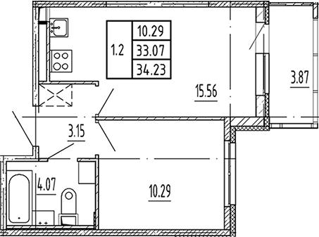 2Е-комнатная, 33.07 м²– 2