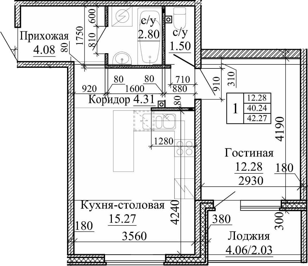2Е-комнатная, 42.27 м²– 2