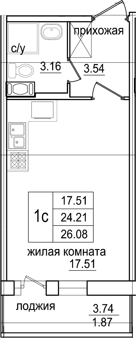Студия, 26.08 м², 7 этаж – Планировка