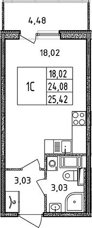 Студия, 24.08 м², 16 этаж