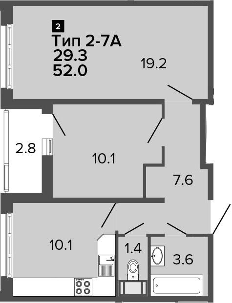 2-к.кв, 52 м², от 15 этажа
