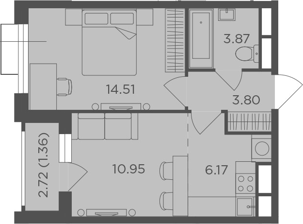 2Е-к.кв, 40.66 м², от 20 этажа