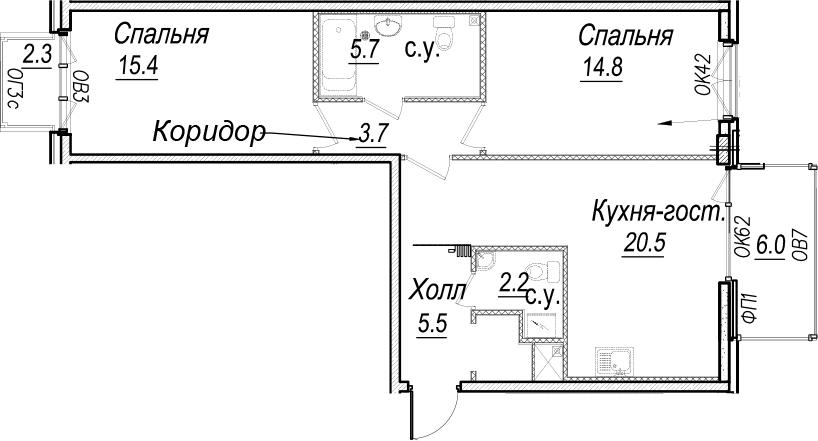 3-к.кв (евро), 76.11 м²