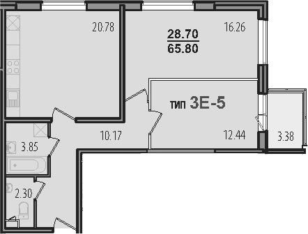 3-к.кв (евро), 69.18 м²