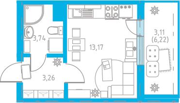 Студия, 26.39 м²