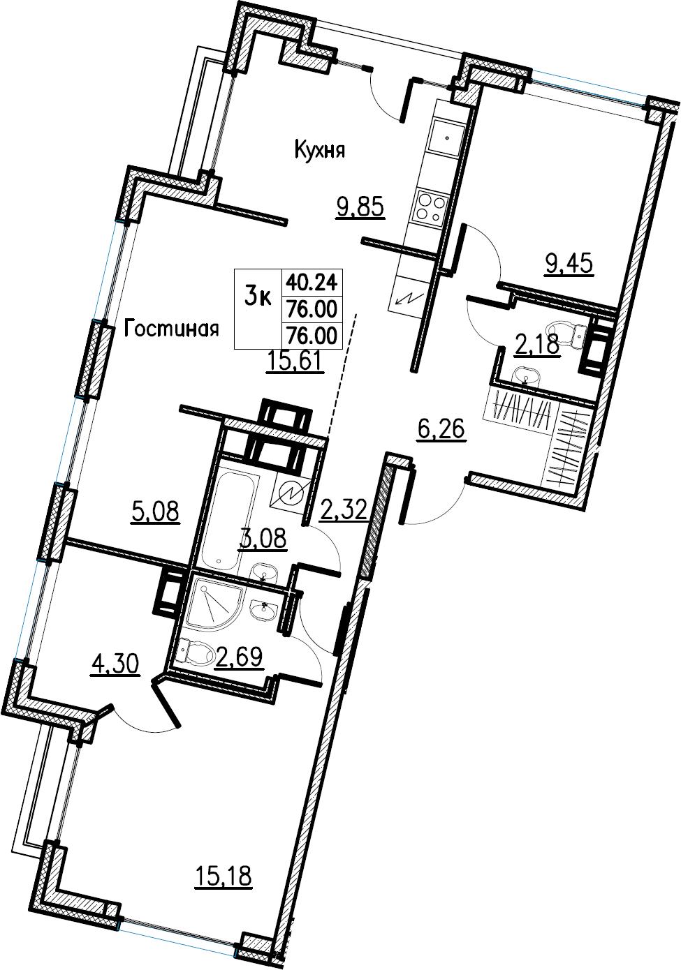 3-комнатная, 76 м²– 2