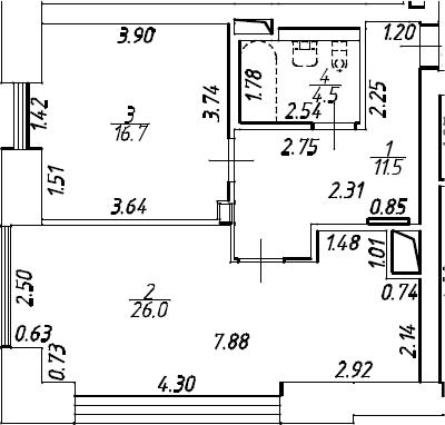 2Е-комнатная, 58.7 м²– 2