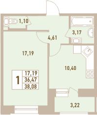 1-к.кв, 39.69 м²