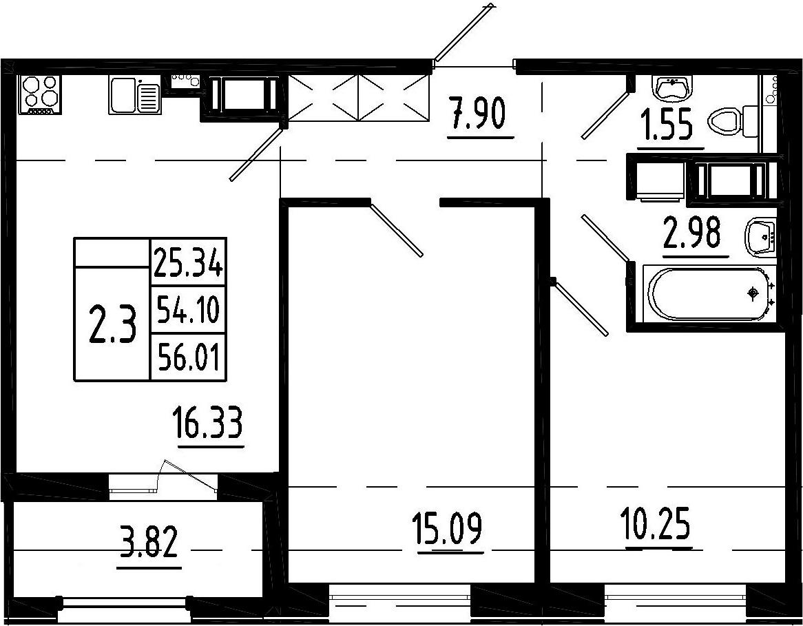 3-к.кв (евро), 57.92 м²