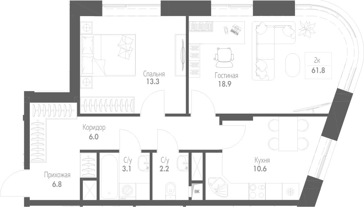 2-к.кв, 61.8 м²
